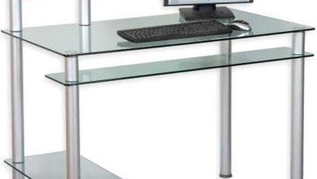 Skleněný kancelářský stůl na počítač KLASIK průhledný
