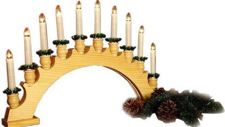 Vánoční dekorace - dřevěný svícen - oblouk