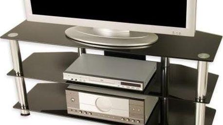 Televizní skleněný stolek černý