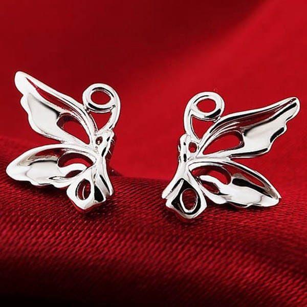 Motýlkové náušnice ve stříbrné barvě