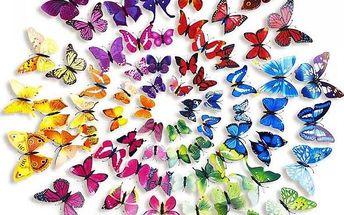 Velká sada 3D motýlků - 72 kusů - dodání do 2 dnů