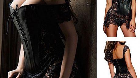 Sexy šaty s korzetem a krajkou Leather