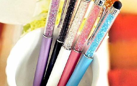 Propiska s krystaly v 5 barvách - lze použít i jako stylus
