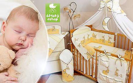 Kvalitní dětská postýlka z masivu borovice včetně matrace a 12dílné sady do postýlky
