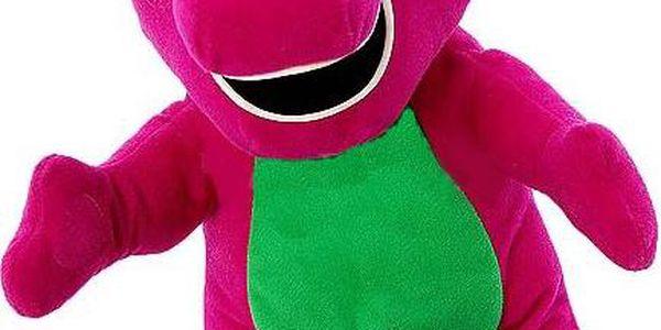 Barney - plyšový hrajicí dinosaurus.