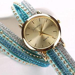 Dámské vícevrstvé hodinky s kamínky - poštovné zdarma