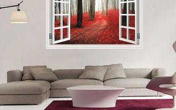 3D samolepka - okno do rudého lesa - dodání do 2 dnů