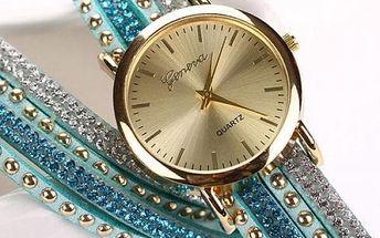 Dámské vícevrstvé hodinky s kamínky