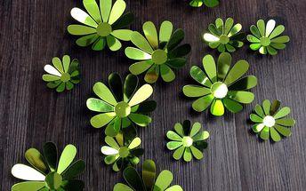 Sada 12 adhezivních 3D samolepek Ambiance Flowers Chic Green
