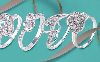 Rhodiované prsteny se třpytivými zirkony