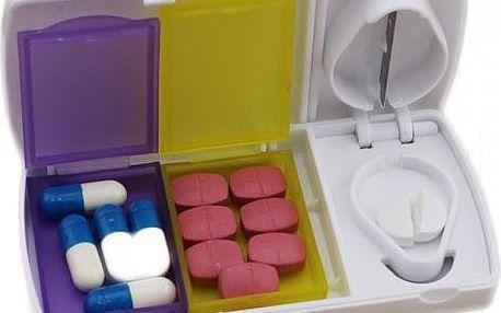 Box na léky s kráječem na pilulky