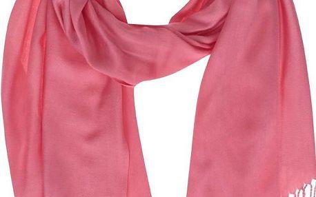 Růžový šátek s třásněmi INVUU London