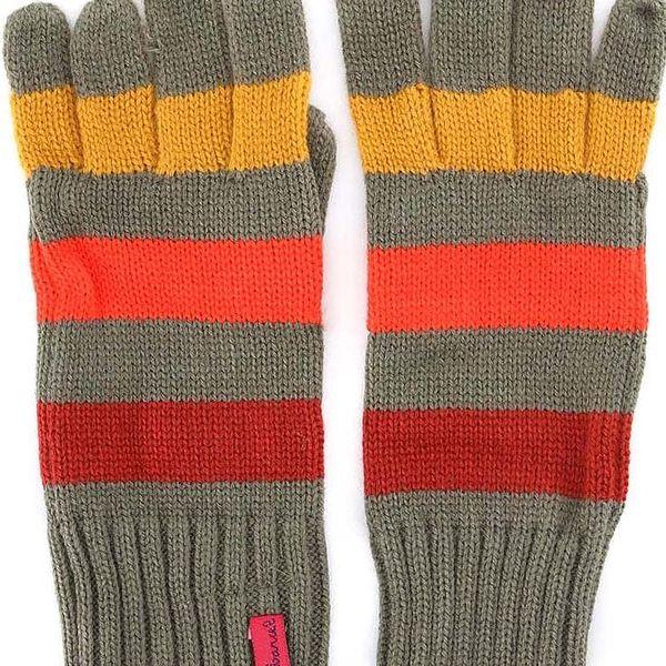 Zelené rukavice s barevnými pruhy Little Marcel Gabi