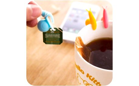 Držáček na čajový sáček ve tvaru šneka - světle oranžová - dodání do 2 dnů