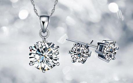 Zářivý set náušnic a náhrdelníku se zirkony