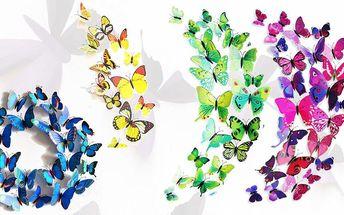 Dekorativní sady 3D motýlků - magnet i samolepka