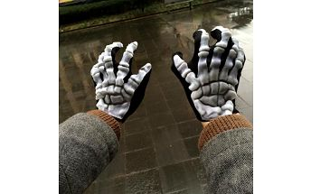 Unisex rukavice s motivem kostry