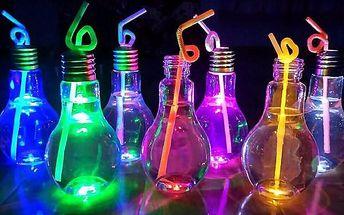 Kreativní LED svítící sklenice v podobě žárovky - 400 ml