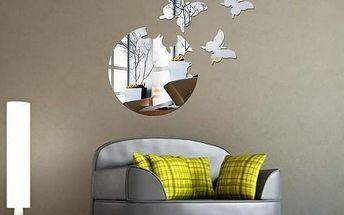Zrcadlová dekorace na zeď s motýlky