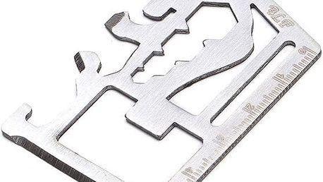Multifunkční kovová pomůcka o velikosti platební karty - poštovné zdarma