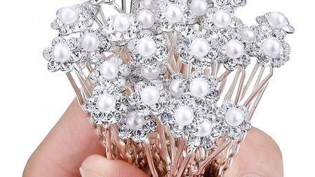 Vlásenky s ozdobnou perličkou - 40 kusů