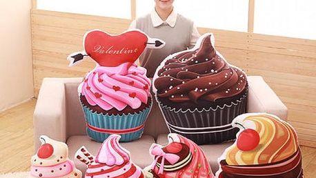 3D polštáře v podobě cupcaku