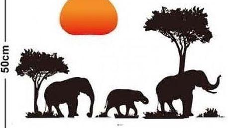 Samolepka na zeď - Sloni na safari - skladovka - poštovné zdarma