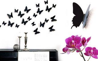 Sada 12 ks samolepek černých motýlů jako originální 3D dekorace