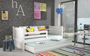 Dětská postel s přistýlkou RICO 2 80x190 cm, bílá/bílá Víla