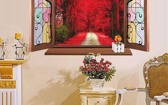 3D samolepka na zeď - Okno do rudé aleje - dodání do 2 dnů
