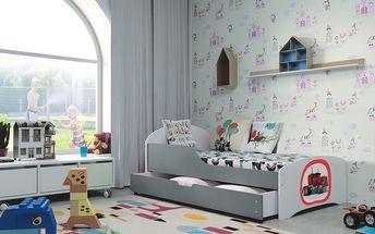 b2b1 BMS-group Dětská postel ROBI 80x160 cm, bílá/grafitová Pěnová matrace Astronaut