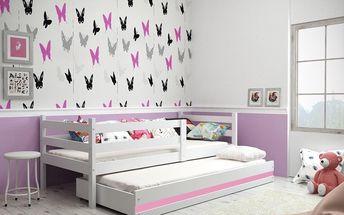 Dětská postel s přistýlkou ERYK 2 90x200 cm, bílá/růžová Kokosová matrace