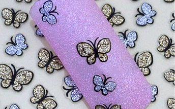 Třpytiví motýlci - nálepky na nehty - poštovné zdarma