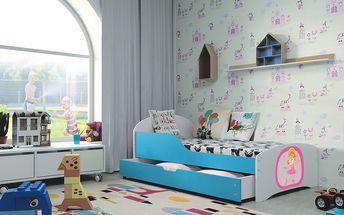 Dětská postel ROBI 80x140 cm, bílá/modrá Pěnová matrace Víla