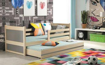 Dětská postel s přistýlkou RICO 2 80x190 cm, borovice/grafitová Auto