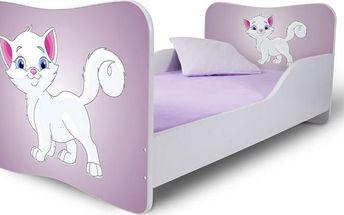 Dětská jednolůžková postel s bílou kočičkou 1