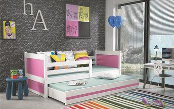 Dětská postel s přistýlkou RICO 2 80x190 cm, bílá/růžová Pták