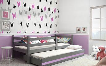 Dětská postel s přistýlkou ERYK 2 90x200 cm, grafitová/fialová Pěnová matrace