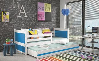 Dětská postel s přistýlkou RICO 2 90x200 cm, bílá/modrá Bez samolepky Kokosová matrace