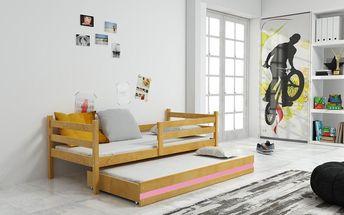 Dětská postel s přistýlkou ERYK 2 90x200 cm, olše/růžová Kokosová matrace