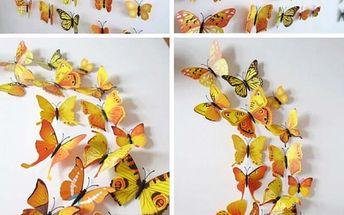 Sada 3D motýlků ve žluté barvě