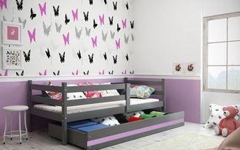 Dětská postel ERYK 1 80x190 cm, grafitová/fialová