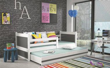 Dětská postel s přistýlkou RICO 2 90x200 cm, bílá/grafitová Bez samolepky Latexová matrace