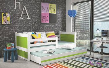 Dětská postel s přistýlkou RICO 2 80x190 cm, bílá/zelená Formule