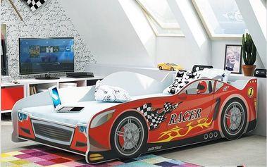 Dětská postel auto CARS 80x160 cm, červená Pěnová matrace