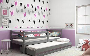 Dětská postel s přistýlkou ERYK 2 80x190 cm, grafitová/grafitová