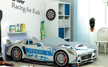 Dětská postel auto CARS 80x160 cm, bílá/stříbrná Latexová matrace