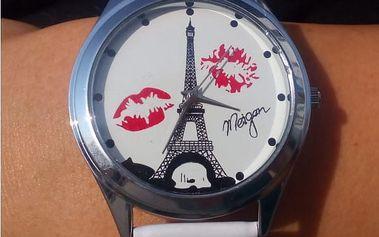 Dámské hodinky s Eiffelovou věží a polibky - ciferník stříbrné barvy - dodání do 2 dnů