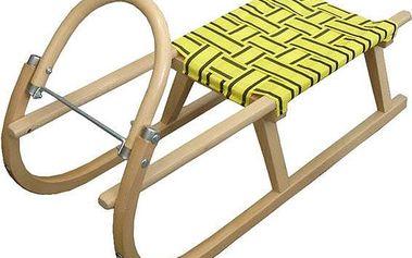 Sáně 95 cm dřevěné A204 - žlutá