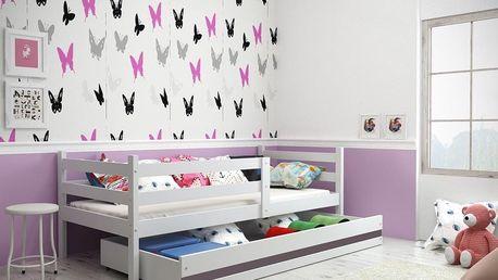 Dětská postel ERYK 1 90x200 cm, bílá/grafitová Latexová matrace